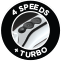 4 speeds + turbo