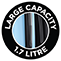 Large capacity 1.7 litre