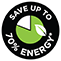 Save up to 70% energy
