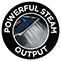 Powerful steam output