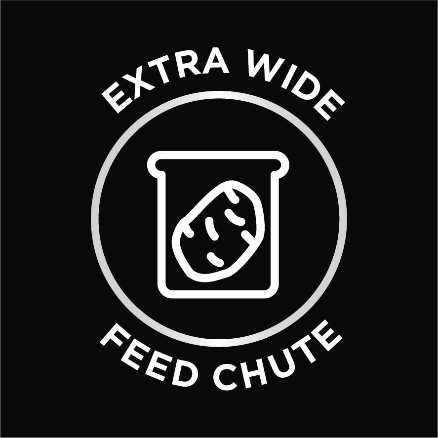 Extra wide feed chute