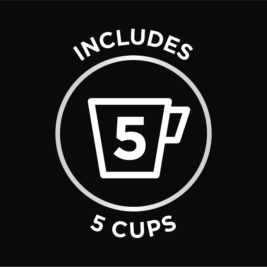 Includes 5 Cups