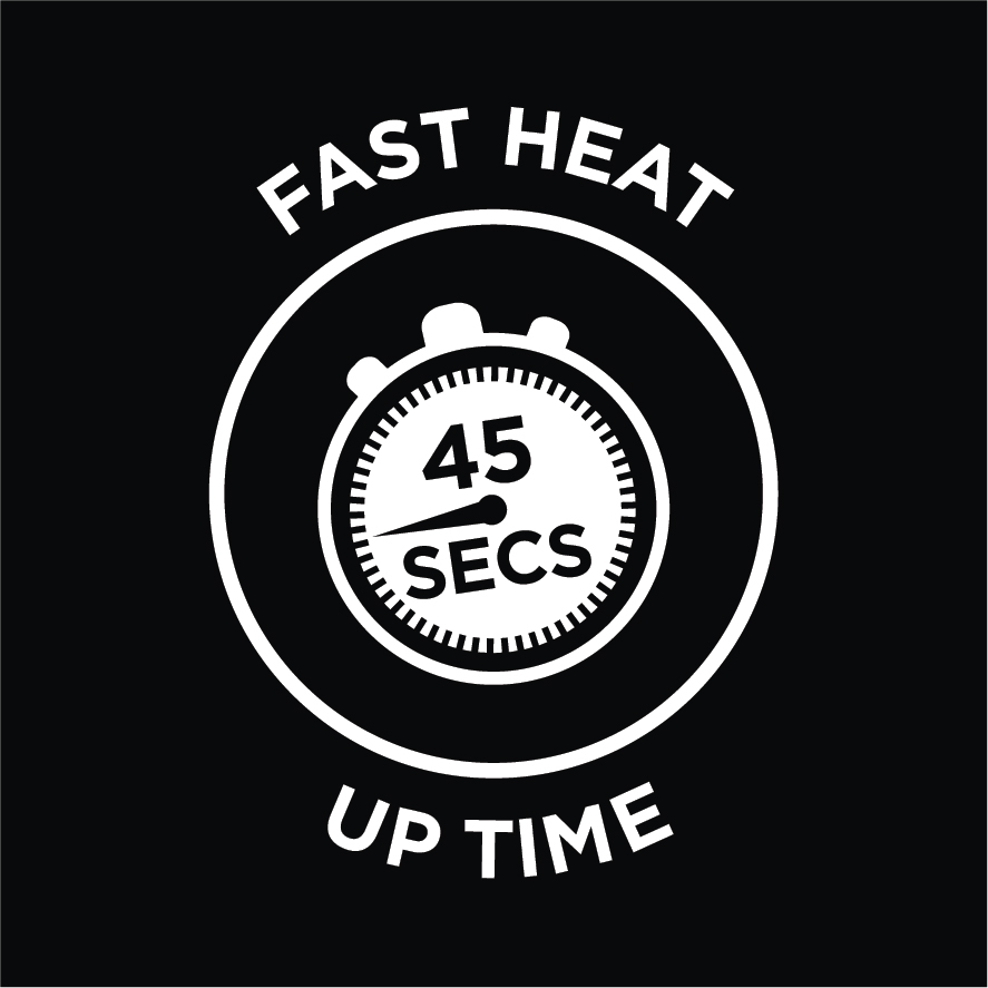 45 Secs Fast Heat Up Time