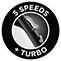 5 sebességfokozat és turbó funkció