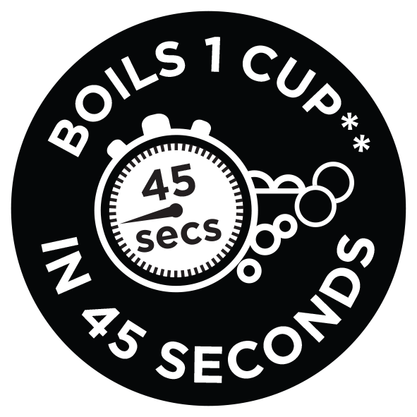 Boils 1 cup in 45 seconds*