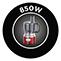 850 W teljesítmény