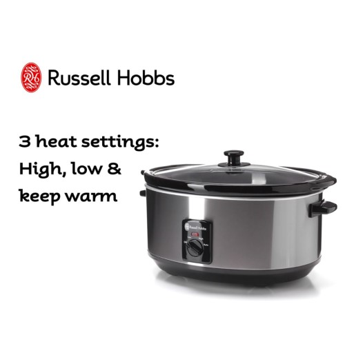 6L Slow Cooker Brushed 360° RHSC600 - Russell Hobbs