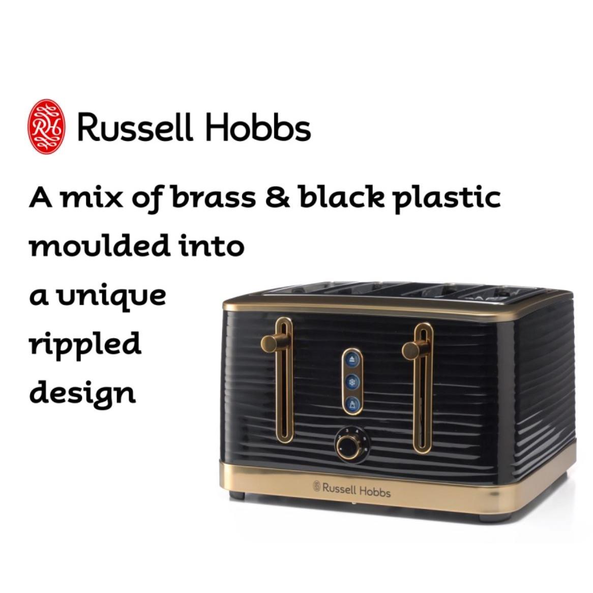 Inspire 4 Slice Toaster Black Brass 360° RHT114BBR -