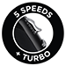 5 Speeds + Turbo