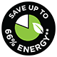 Save up to 66% Energy^