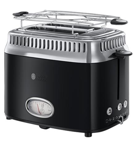 Toaster avec jauge compte à rebours Retro Noir Classic