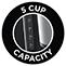 5 tazas de capacidad