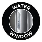 Außenliegende Wasserstandsanzeige mit Füllmengenmarkierung