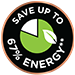 Save up to 67% energy**