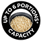 Up to 6 Portions* Capacity